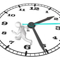 White cartoon character on the big clock. 3d illustration with white background.