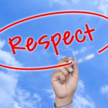 Man Hand writing Respect marker on visual screen. Isolated on white. Business, technology, internet concept. Stock Image